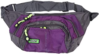 LIOOBO Outdoor Waist Bag Stylish Casual Chest Bag Durable Crossbody Pouch Sports Phone Bag Four-Layer Zipper Bag for Man Women (Purple)
