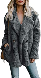 Alicegana Women's Autumn and Winter New Lapel Pocket Suit Collar Plush Button Fuzzy Coat Jackets