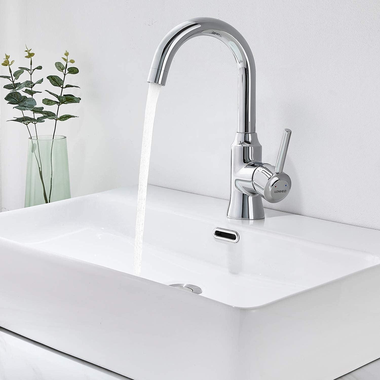 Lonheo Grifo lavabo alto cromado giratorio a 360°,Monomando de lavabo de agua caliente y fría para baño y cocina