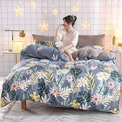 Bedding-LZ bettwäsche Set Baumwolle 135x200,Flanell AB Gesicht Baumwolle Plus Samt magische Samt Bettbezug extra große Weihnachtsbettwäsche-J_1,8 m Tagesdecke (4 Stück)