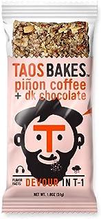 Taos Bakes Energy Bars - Piñon Coffee + Dark Chocolate (Box of 12, 1.8oz Bakes) - Gluten-Free, Non-GMO, Healthy Snack Bars