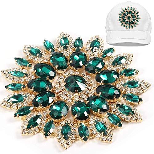 HEEPDD Decoración de Diamantes de imitación de Cristal de Cristal, Clips de Zapatos de Flores de Cristal Pin de Broche de Diamantes de imitación de Cristal Vintage(Base Dorada Verde)