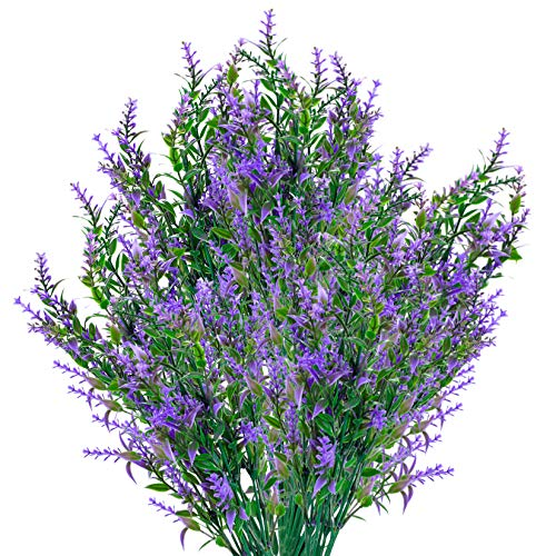 6 Pcs Artificial Lavender Flowers, Plastic Faux Flowers Plants Bouquets, UV Resistant Fake Greenery Flowers for Garden, Home, Indoor, Outdoor Decorations(Purple)