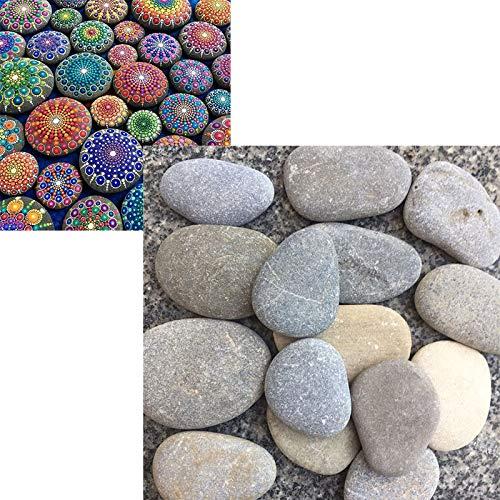 YST Flache Steine Kiesel zum Bemalen Mandala & Garten Dekosteine Kleine Steine Natursteine Aquarium Stein Natur Deko Marmorkies Zierkies für Gartendeko