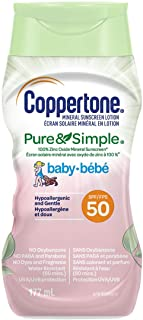 Coppertone Mineral Sunscreen lotion pure and Simple Baby Spf 50, Gentle, Tear-free, Hypoallergenic Sun Protection for Babi...