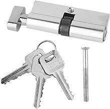 Deurslot 1 stks 70mm aluminium metalen deurslot cilinder huisbeveiliging anti-snap anti-boor met 3 sleutels zilver toon in...