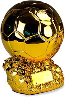 Gold Football Trophy- Souvenir,24Cm FIFA World Cup, Soccer Statues Copy European Cup Trophy Player of The Year in The World Soccer Ball in Gold Resin