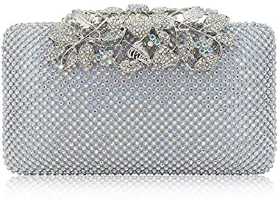 Womens Evening Bag with Flower Closure Rhinestone Crystal Clutch Purse