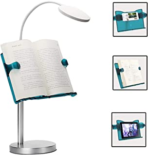 Hands Free Book Stand Desktop Book Reading Stand Holder Music Document Stand with USB Reading Light Adjustable Height Widt...