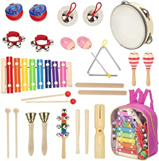 Sokoni Toy Wooden Kids Percussion Educational Musical Instrument Set for Preschool Toddlers and Children with Xylophone and Triangle - with Storage Backpack and Activity eBook BONUS (PINK)