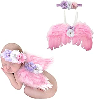 Newborn Cute Style Baby Angel Feather Wings Baby Photography Props with Headband