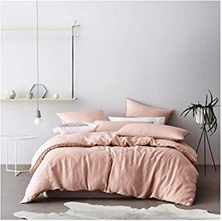 Eikei Washed Cotton Chambray Duvet Cover Solid Color Casual Modern Style Bedding Set Relaxed Soft Feel Natural Wrinkled Look (Queen, Pastel Blush)