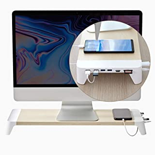 POUT EYES7 Wooden Desk Monitor Computer Stand Riser Shelf + Quick Charge 3.0 Charging Port + USB 3.0 Hub + SD +Micro SD Slot All in One for Laptop, Apple, iMac, PC