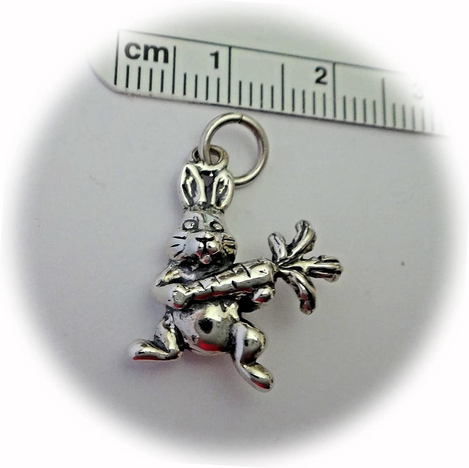 New Sterling Silver 3D Don't miss the campaign 20x18mm Easter Bunny Rabbit Max 56% OFF C Carrot with