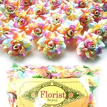100  Silk Light Rainbow Roses Flower Head - 1.75  - Artificial Flowers Heads Fabric Floral Supplies Wholesale Lot for Wedding Flowers Accessories Make Bridal Hair Clips Headbands Dress