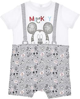 6276f27b30aa5 Barboteuse Trompe-Oeil bébé garçon Mickey Blanc Gris de 6 à 24mois