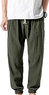 Inlefen Men's Casual Cotton Linen Pants Retro Loose Harem Jogging Trousers Comfortable Harem Pants with Side Pockets