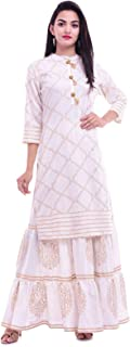 ERISHA Straight Rayon Kurti Skirt Set for Women's(White Color with Golden Print)