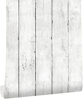 HAOKHOME Wood Plank Wallpaper Off White Self Adhesive Furniture Sticker 5030
