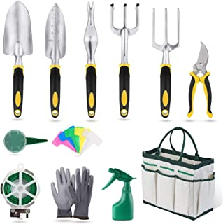 U HOOME Garden Tools Set 12 Pieces Heavy Duty Hand Tool Gardening Kit cast Aluminum with Soft Rubberized Non-slip Handle,D...