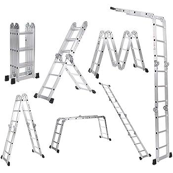 Galapar Escalera De Aluminio Plegable, 7 en 1 Multi propósito Escalera Plegable Andamios extensión Escalera de Aluminio Plataforma de Trabajo W/Bloqueo de Seguridad de bisagra 330lb / 150kg: Amazon.es: Hogar