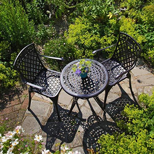 Lazy Susan - IVY Bistrotisch mit 2 Stühlen - Rundes Gartenmöbel Set aus Metall, Antik Bronze (ROSE Stühle)