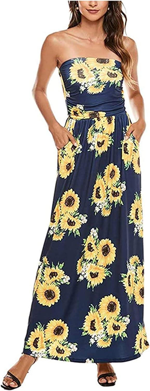 Womens Tube Top Long Dress Summer Sleeveless Wrapped Sunflower Print Long Dress Fashion Beach Sundress with Pockets