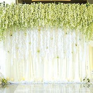 Houda – Wisteria artificial para colgar (flores de seda, para fiestas y decoración, 12 piezas, 1 m)