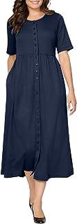 Women's Plus Size Button-Front Essential Dress