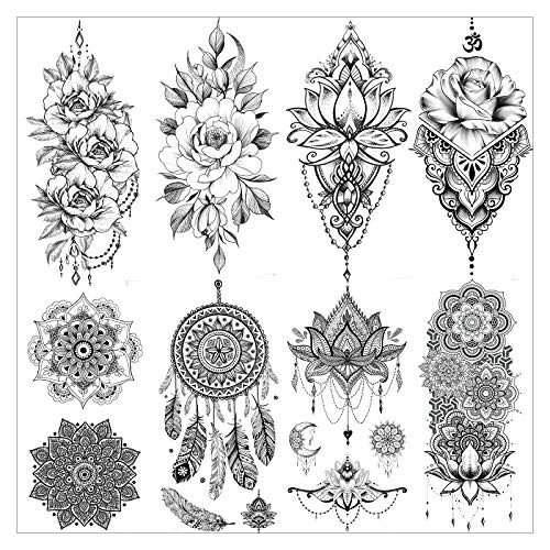 VANTATY 8 Sheets Lace Large Lotus Flower Temporary Tattoo Stickers Fake Jewels Black Henna Dream Catcher Tattoo For Women Girls Body Art Arm Large Peony Mandala Tatoo Chest Breast Legs Buddha.