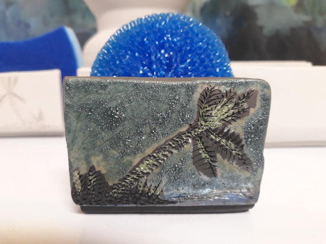 Raku Max 71% OFF Pottery OFFicial shop Sponge Holder Hand Pal Silver Green Thrown Pale