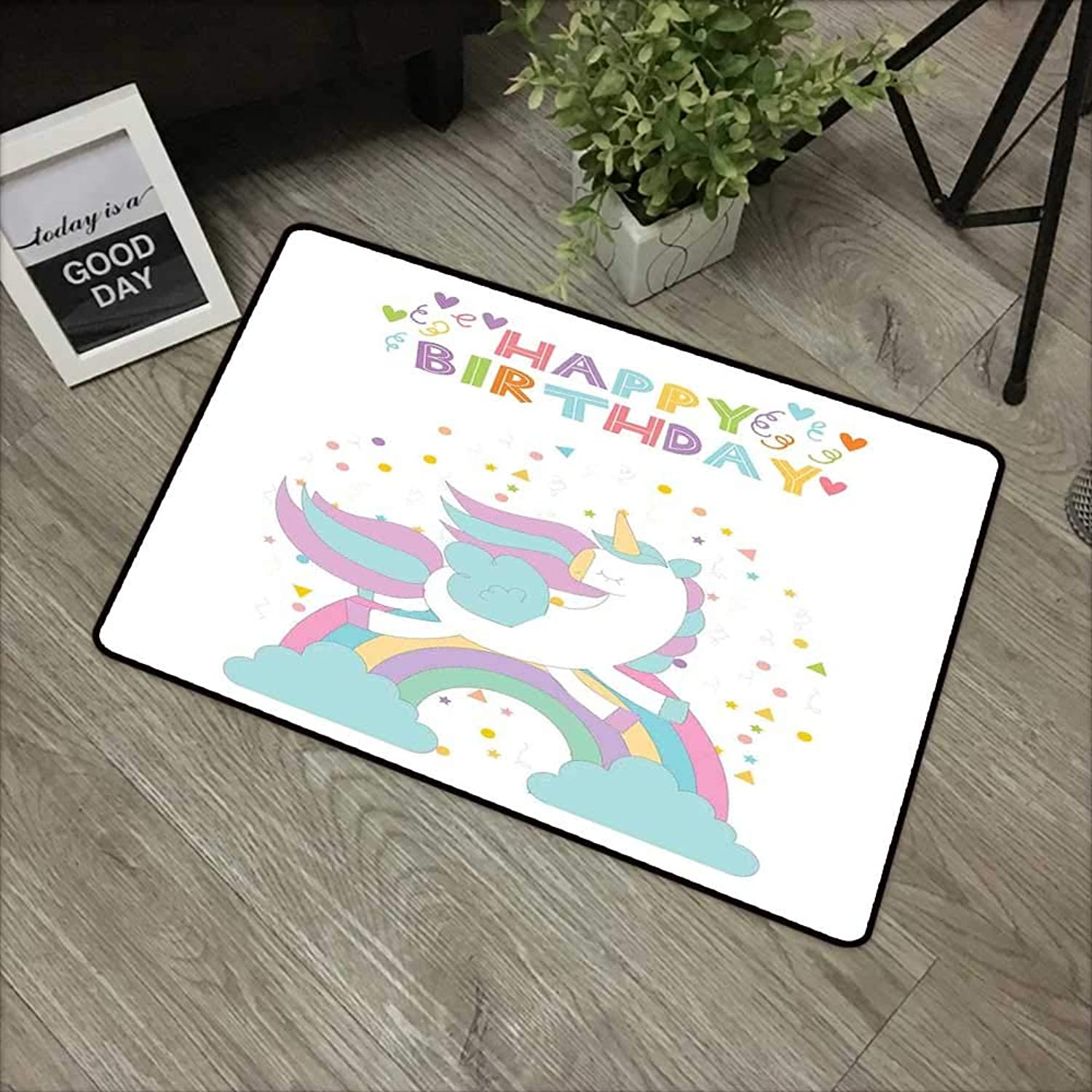 Learning pad W35 x L59 INCH Unicorn Party,Mythical Horse Jumping Above The Rainbow Festive Happy Birthday Calligraphy,Multicolor with Non-Slip Backing Door Mat Carpet