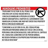 'Handguns Prohibited' Section 30.06 Poster - 18x24 Window Cling - Inside Facing Out