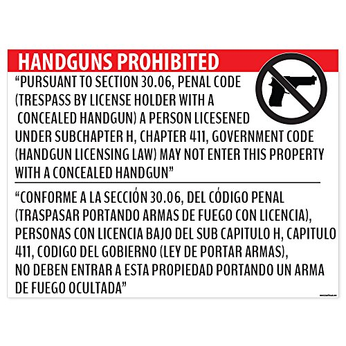 """Handguns Prohibited"" Section 30.06 Poster - 18x24 Window Cling - Inside Facing Out"