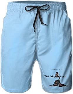 Men's Swim Trunks Quick Dry Muhammad-Ali Boxing Art Surfing Beach Board Shorts with Side Pockets
