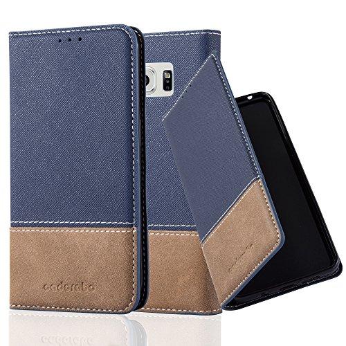 Cadorabo Funda Libro para Samsung Galaxy S6 Edge Plus en Azul MARRÓN – Cubierta Proteccíon con Cierre Magnético, Tarjetero y Función de Suporte – Etui Case Cover Carcasa