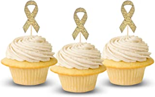 Cancer Ribbon Cupcake Topper 12 pieces per Pack Cupcake Topper Decoration CardStock Gold