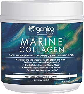 Organicoslim Marine Collagen -250gm with Vitamin C & Hyaluronic Acid.