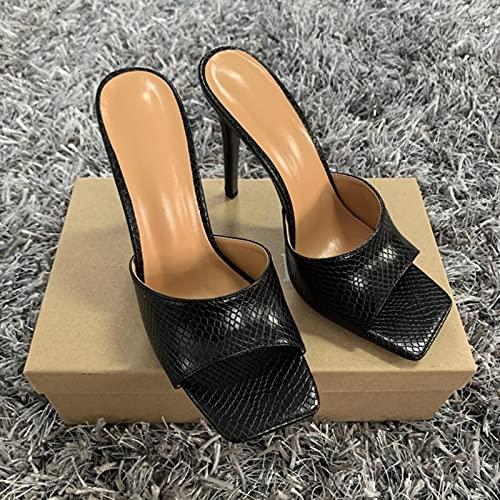 YHCS 2020 Mujeres de Verano Bombas de Las Mujeres de los pies Cuadrados Tacones de tacón de Las Damas Sexy Delgado Tacones Altos Sandalias Zapatillas Femenino Moda Mujer Zapatos 11 cm