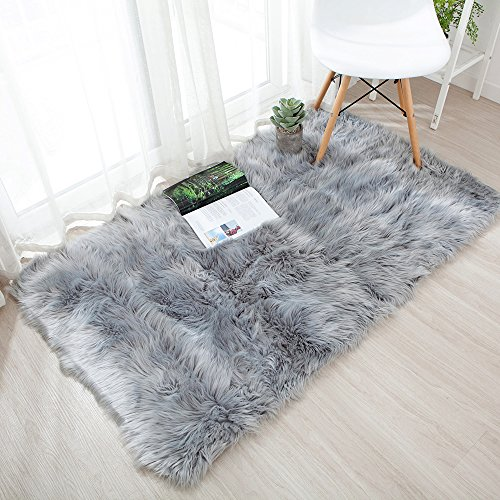 OJIA Deluxe Soft Fuzzy Fur Rugs Faux Sheepskin Shaggy Area Rugs...