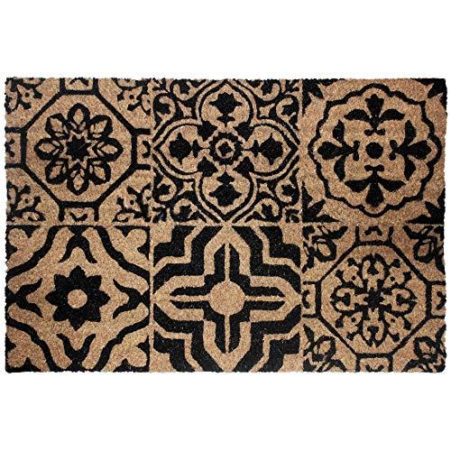 Douceur d'Intérieur Déco Alfombra Lisbonne Felpudo Rectangular 40 x 60 cm Coco Estampado Lisboa, Material sintético, Multicolor, 60 x 40 cm