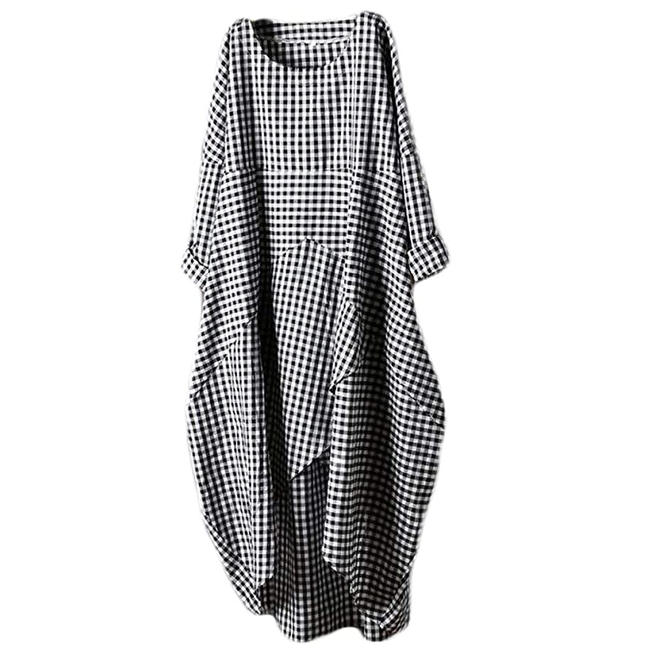 iPOGP Fashion Womens Dress Plus Size O-Neck Lattice Cotton and Linen Easy Half Sleeve Chic Loose Hem Diagonal Split Dresses
