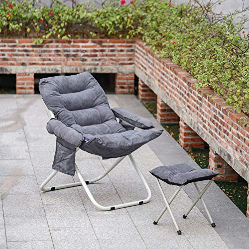 INMOZATA Reclining Chairs with Foot Stool High Back Adjustable Folding Recliner Armchair Suede Garden Chair for Indoor Outdoor Lounge Camping(Grey)
