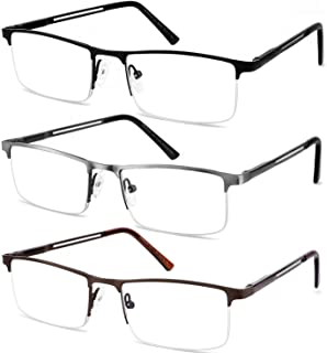 JJWELL 3 Pack Computer Blue Light Reading Glasses Men Metal Semi Rimless Readers