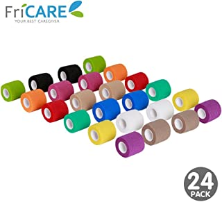 FriCARE 2 Inch Wide Nonwoven Self-Adhesive Bandage, Self Adherent Cohesive First Aid Medical Wrap, Vet Tape for Dog Cat Pet (Rainbow, 24 Pack)