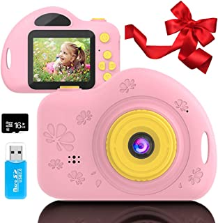Toys for 4-6 Year Old Girls Kids Camera for Children Mini Camcorder with 1080P and 2.0 Inch IPS Screen for Preschool Toddler Birthday Present(16GB TF Card Included)