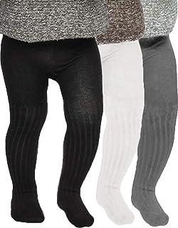 Tiny One Lot de 3 collants pour bébé fille et garçon - En coton biologique certifié GOTS - Blanc cassé, gris mélangé et noir