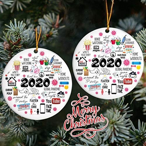 TeezWonder Christmas Ornaments-Sum Up 2020 Pandemic Quarantine Ornament - Christmas Ornament C63, Circle, 2 Pcs, Ceramic Ornament Hooks Included Set Decorations Party Holiday Xmas Tree