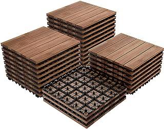 Topeakmart 12 x 12in Wood Flooring Tiles Patio Pavers Blocks Interlocking Wooden Tiles Indoor Outdoor Patio Garden Deck Tiles Poolside, 27 Pack