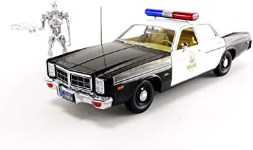 1977 Dodge Monaco Metropolitan Police with T-800 Endoskeleton Figure - The Terminator (1984), Artisan Collection, Doors Open to Reveal Detailed Interior, Authentic Decoration, Officially Licensed, C